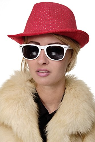 al Fasching Halloween Damen Herren Hut Fedora Gangster Chicago Pimp rot VJ-042-red (Halloween-chicago)