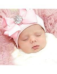 iEFiEL Adorable Bébé Filles Bonnet extensible Bandeau Noeud Strass Rose Accessoire Photographie