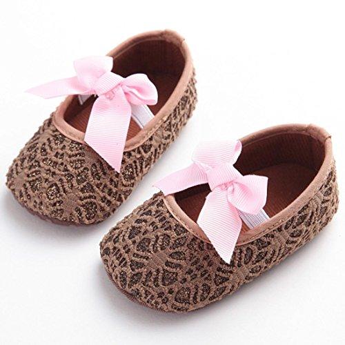 Saingace Kleinkind Mädchen Krippe Schuhe Neugeborene Blume Soft Sohle Anti-Rutsch Baby Sneakers Braun