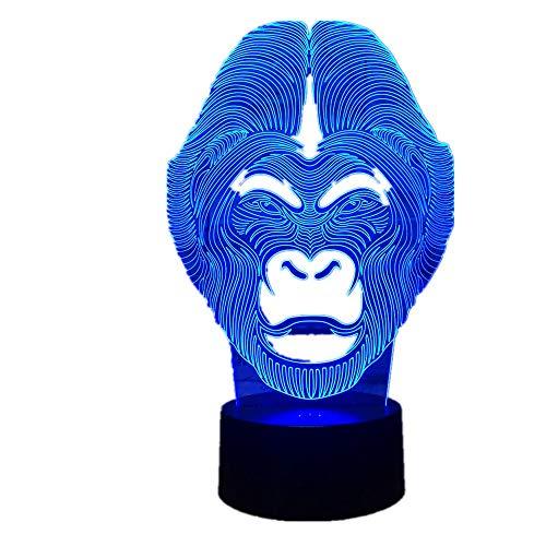 Pony 3D LED Dinosaurier Lampe 7 Farben Ändern LED Hund Bär USB Octopus Nachtlicht Innen Atmosphäre Lampe Für Kinder Spielzeug und Neue Jahr Geschenke Schimpanse Eine Größe -