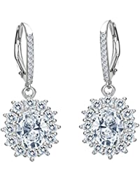 TENYE Austrian Crystal Elegant Angel Wing Hook Dangle Earrings Silver-Tone GpluZ7pl8v