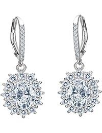 TENYE Austrian Crystal Elegant Angel Wing Hook Dangle Earrings Silver-Tone