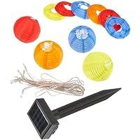 BONUS ET SALVUS TIBI (BEST) Best Season 477-14 Ball Multi - Cadena de luces LED para exteriores con alimentación solar (10 bombillas, 2,7 m), diseño de bolas de colores