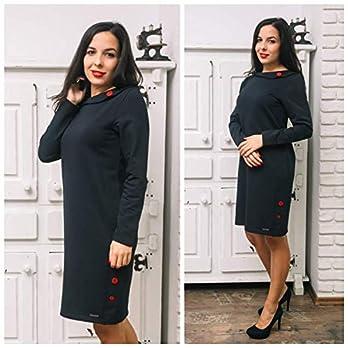 Damen Langarm Kleid mit Kragen und Knöpfen, Dunkelblaue Farbe in den Größen M, L, XL, 2XL, 3XL