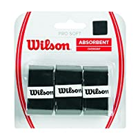 Wilson WRZ4040BK Unisex Adult Pro Soft Overgrip Grips - Black, Pack of 3