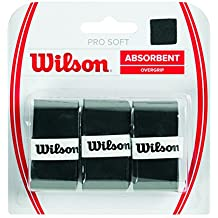 Wilson Griffbänder Pro Soft Overgrip 3 Pack - Mango de raqueta de tenis (pack de 3), color negro