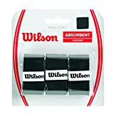 Wilson Unisex-Adult's Pro Soft Tennis Racket Overgrip Pro Soft, Black, Pack of 3