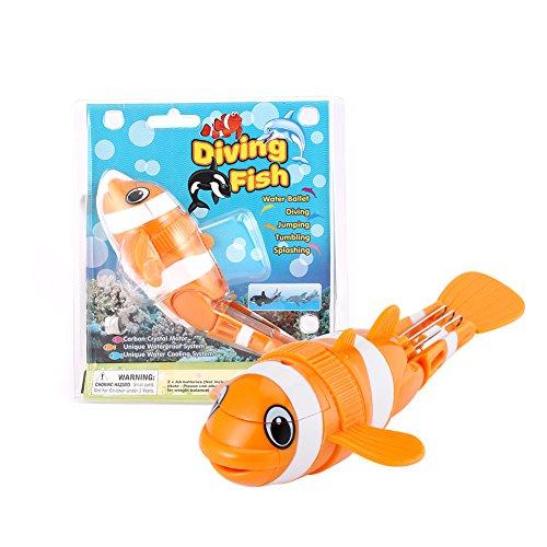 YKS Juguete Eléctrico Impermeable para Bebe Diving Fish para Piscina Baño Resistente a los Golpes, Pez Payaso naranja