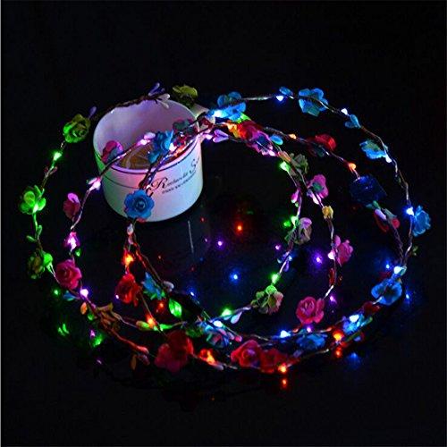 5pcs blinkende LED Tiara Stirnbänder Bohomia Blumen Hairband Hawaii lei Headwear Glühende Kopf Kränze für Mädchen Frauen Party Dekor (mixed 1) (Kind Kopf Kranz)