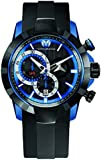 Technomarine Swiss Men's Quartz Watch with Black Dial Chronograph Analog Display and Black Silicone Strap 614001