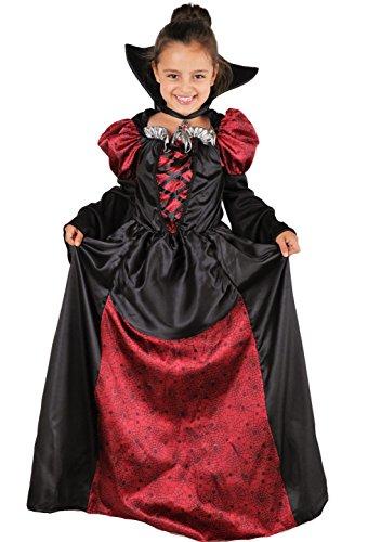 n - Vampir Kostüm Mädchen inkl. Vampirkleid mit Kragen - Halloween Kostüm Mädchen (134/140) ()