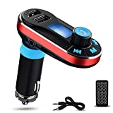 Perbeat BT66 Wireless Bluetooth FM Transmitter Hands free Car Kit Radio Adapter MP3 Player Dual USB Car Charger support Micro SD Card USB Flash Disk for Smart phone, iPhone, iPad,etc (BT66 Red)