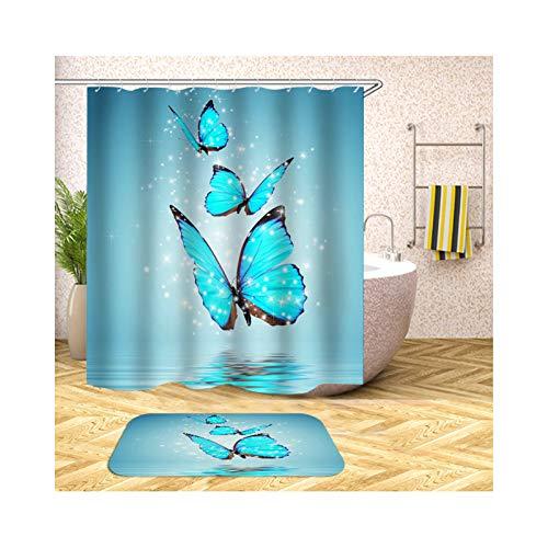 Anyeda Duschvorhang Fußmattensatz Polyester DREI Schmetterlinge Maschinenwaschbar Bunt Duschvorhang 150X200Cm Plus Bodenmatte 40X60CM