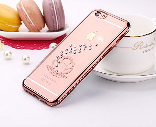 6S iPhone-Custodia per iPhone 6, motivo: delfini MASUMARK, motivo floreale con strass, colore: trasparente, in gomma, motivo: diamanti, colore: oro placcato Electroplate cornice paraurti in Silicone T Shell Pearl 5.5 - Rose Gold