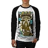 wellcoda UFO Ausländer Zeitschrift Männer L Baseball LS T-Shirt
