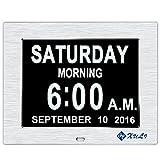 Horloge numérique avec date jour et heure - Mise à niveau - XULI 8 Inch Horloge pour les Seniors Disponible en 8 langues nationales (argent)
