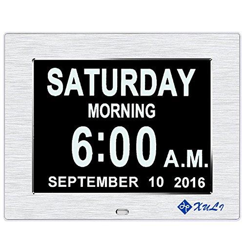 ag Uhr mit Nicht Abkürzungen Tag & Monat - Aufgerüstet - 8 Zoll XULI® Digital Kalender - (Silber) (Datum Für Halloween-nacht)