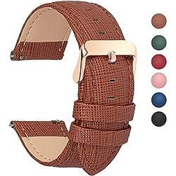 Fullmosa 6 Colores para Correa de Reloj, Cross Piel Correa Huawei Samsung Correa/Banda/Band/Pulsera/Strap de Recambio/Reemplazo 18mm 20mm 22mm 24mm,Marron 22mm