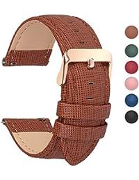 6 Colores para Correa de Reloj,Fullmosa®Cross Piel Correa Huawei Samsung Correa/Banda/Band/Pulsera/Strap de Recambio/Reemplazo 18mm 20mm 22mm 24mm,Marron 22mm