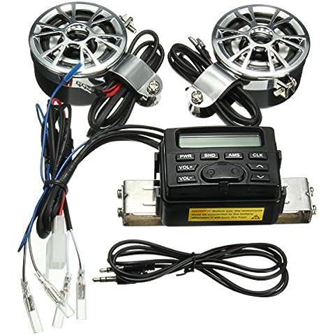 AUDEW 12V Altavoces Altavoz Radio FM MP3 Motocicleta Stereo Speakers reproductor audio