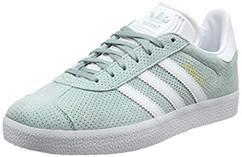 adidas Gazelle, Baskets Basses Femme, Vert (Tactile Green/Footwear White/Gold Metallic), 40 EU