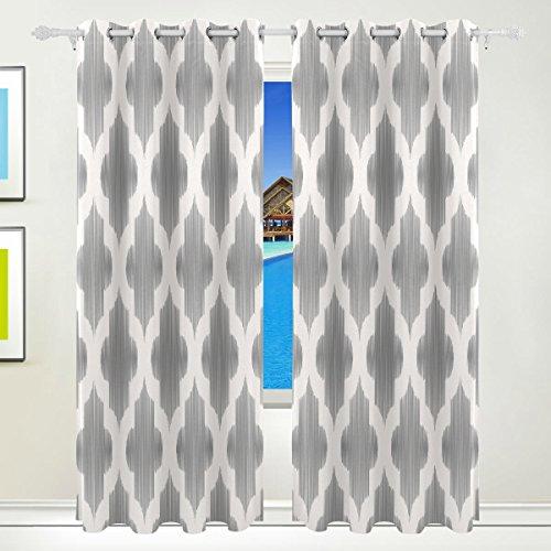 TIZORAX weiß grau Islamische Vorhänge Verdunkeln isoliert Blackout Fenster Panel Drapes für Wohnzimmer Schlafzimmer 213,4x 139,7cm, Set von 2Panels