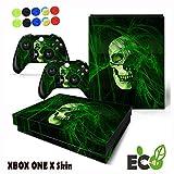 Xbox One X Skin Sticker, Morbuy Mode Persönlichkeit Stil Designfolie Vinyl-Folie Aufkleber für Konsole + 2 Controller Aufkleber Schutzfolie Set +10 pc Silikon Thumb Grips (Grüner Schädel)