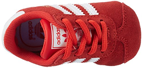 adidas Gazelle, Scarpe da Ginnastica Basse Unisex – Bambini, Cblack/Ftwwht/Goldmt Rosso (Core Red/ftwr White/gold Metallic)