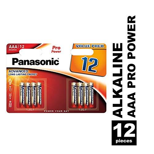 Panasonic Pro Power Alkali-Batterie, AAA Micro, 12er Pack, langanhaltende Energie für Geräte mit mittlerem bis hohem Energieverbrauch, Alkaline