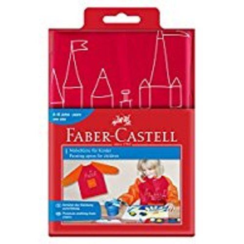 Faber-Castell 201204 Kinder-Malschürze, rot/orange, Einheitsgröße - Logo Kleidungsstück