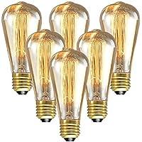 [Sponsorizzato]longyee Vintage ST64 E27 Edison Lampadina 40 W Dimmerabile, Antico Filamento in Tungsteno, Anello Quirrel, 220 V, 6 Pezzi