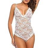 Anglewolf Fashion Women Lace Lingerie Babydoll Nightie Dress Siamese Bodysuit Underwear Temptation Underwear One-Piece Lingerie Pajamas Sexy Ladies Wild Temptation (White, M)