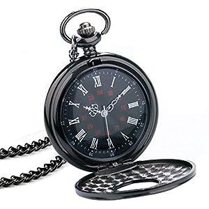 BestFire Taschenuhr schwarz römische Retro Vintage Quarz Taschenuhr römische Ziffern Steampunk Taschenuhr