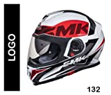 #10: SMK Twister Designer Full Face Helmet with Logo Graphics (GL132), White with Black and Red