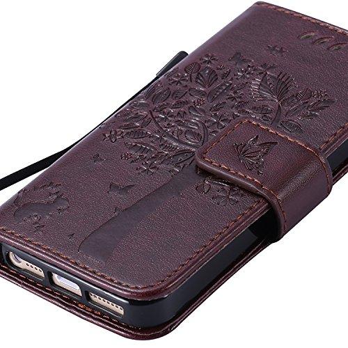 OuDu Impressum Muster Hülle für iPhone 5/5S/SE PU Leder Handyhülle Klapp Buch-Stil Ledertasche Baum&Schmetterling Schale Einzigartige Entwurf Tasche Kompletter Schutzhülle Flip Wallet Case Silicone In Braun