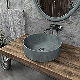 KERABAD Design Betonwaschbecken Waschtisch Aufsatzwaschbecken Waschschale aus Beton Grau rund 36x36x12cm KB-B518-1