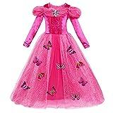 Abito Principessa Bella Addormentata Carnevale Aurora Costumi Rapunzel Sofia Vestito per Bambina Ragazza Travestimento Veneziano Halloween Cosplay Elsa Festa Cerimonia 9-10 Anni