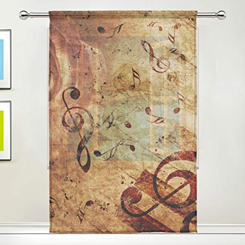 NaiiaN Gardine Rose Music Note 55x84 Zoll, 1 Panel Gitarre Voile Tüll Fenster Vorhang für Schlafzimmer Wohnzimmer Wohnkultur (Grau Gelb-vorhang-panels Und)