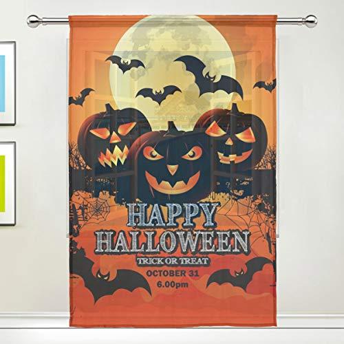 Fenster, transparent, Happy Halloween, Kürbis-Vorhänge, für Küche, Wohnzimmer, Schlafzimmer, Büro, Voile, 1 Stück, Multi, 55x84 inches ()