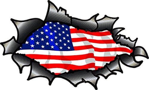 Flagge-aufkleber Große Auto Amerikanische Für (groß ovale GERISSENES OFFEN ZERRISSEN KOHLEFASER FASER Wirkung Design Mit Amerikanisch Sterne & Streifen Flagge Motiv Vinyl Auto Aufkleber 200x120mm)
