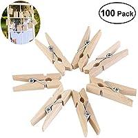 ULTNICE 100 Stück Holzklammern Wäscheklammern mini Dekorativer Klammer Holz Handwerks Foto Clip 3.5 x 1CM