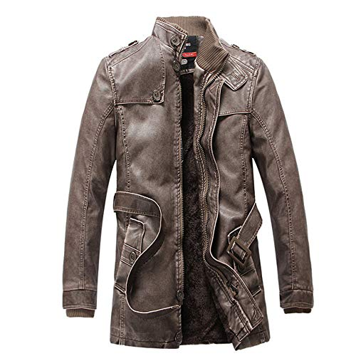 Herren Thermische Lederjacke Winterjacke Mode Männer Herbst Winter warme Freizeit Langarm Pocket Button Dicke Plus SAMT Hochwertig Jacke...