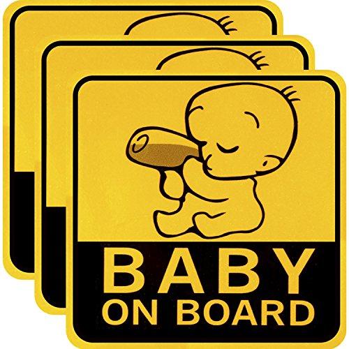 3 pezzi baby on board auto adesivi riflettenti magnetico auto decalcomanie di sicurezza segno di attenzione per il nuovo genitore e bambino