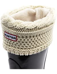 Hunter Womens Original Short Moss Cable Knitted Cuff Welly Socks-Cream-Large (UK