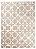 Orientalisches Marokkanisches Teppich - Dichter Und Dicker Flor Modern Designer Muster - Ideal Für Ihre Wohnzimmer Schlafzimmer Esszimmer - Beige Creme Weiß - 140 x 190 cm ' CASABLANCA ' Kollektion von Carpeto