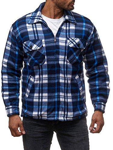 Herren Fleece Jacke Holzfäller Hemd Thermo Flanell Sweat Shirt H2070,Blau-2,M (Thermo-fleece)