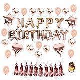 Funnyshow Geburtstag Dekoration Set Rotgold, 1 Satz Happy Birthday Banner, 20pcs Konfetti Latex Ballons, 4pcs Folie Herz Sterne Ballons,Quaste und Rosagoldene Schnur für Party Geburtstag