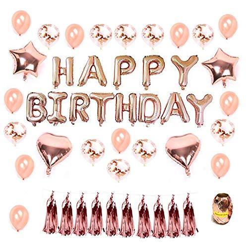 Funnyshow Decoración Cumpleaños, Fiesta Globos Decoración Oro Rosa, 16' Happy Birthday Banner, 20pcs 12' Globos de látex Confetti y 4 Piezas 18' Foil Heart Stars Globos con Gold String para Fiesta