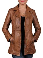 Cornell Women's Tan Sheepskin Long Jacket New with Tags 100% Real Leather Jacket size 8-20