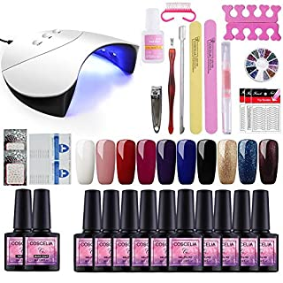 Saint-Acior Gel Nail Polish Starter Kit 10 Colors Gels 36 W Nail Lamp Dryer UV LED Soak Off Topcoat Basecoat Nail Art Tool Nail Salon Set Manicure Sticker Set